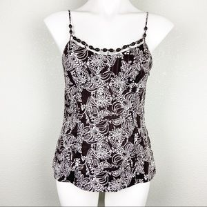 LOFT Brown Floral Tank with Beaded Neckline
